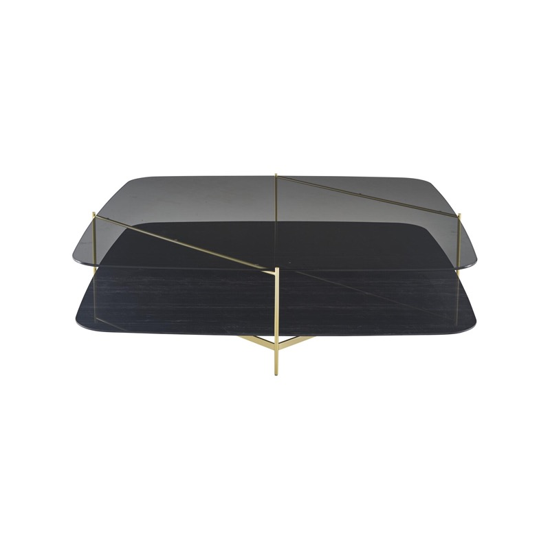 LOW TABLE - BRASS-EFFECT STEEL STRUCTURE UPPER TOP IN GREY SMOKED GLASS LOWER TOP IN BLACK MARBLE-EFFECT STONEWARE Ligne Roset